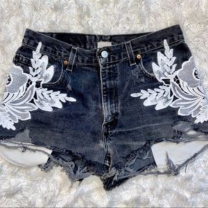 VTG LF LEVIS FURST OF A KIND LACE GRAY SHORTS
